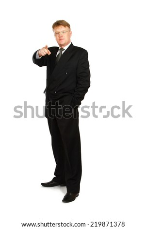Closeup of a businessman pointing at you , isolated on white - stock photo