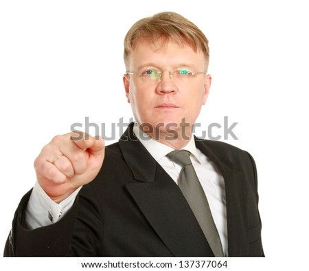 Closeup of a businessman pointing at you , isolated on white background - stock photo