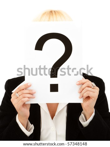 Closeup of a businesswoman holding question mark on white background - stock photo