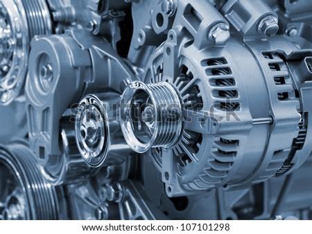 Closeup of a car alternator - stock photo