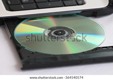 closeup of a CD recorder and Blue Ray DVD player to a laptop