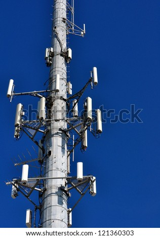 Closeup Of A Cellular Phone Tower Against Clear Blue Sky