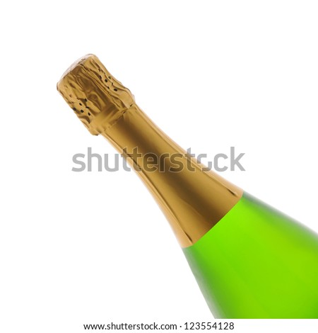 Closeup of a Champagne wine bottle over a white background. Bottle is at a 45 degree angle only showing the top half of the container.