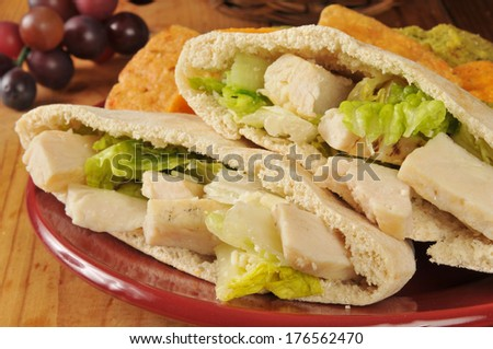 Closeup of a chicken Caesar pita sandwich with vegetable tortilla chips