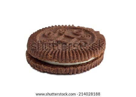 Closeup of a chocolate cookie with white filling, isolated on white background - stock photo