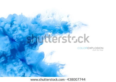 Closeup of a colorful blue acrylic ink in water isolated on white with copy space. Template design. Abstract background. Color explosion. Paint texture. - stock photo