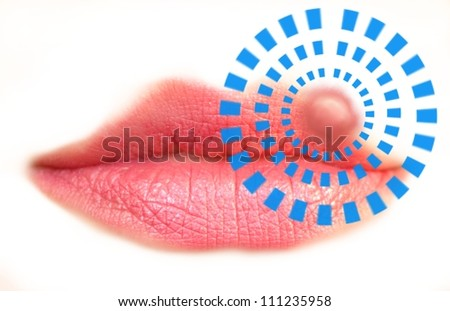 Closeup of a common cold sore virus herpes. - stock photo