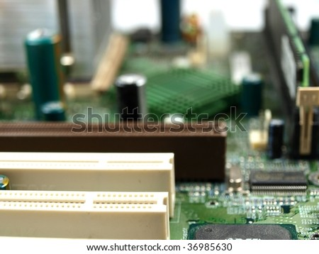 closeup of a computer main board - stock photo