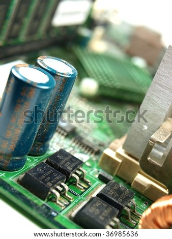 closeup of a computer mainboard - stock photo