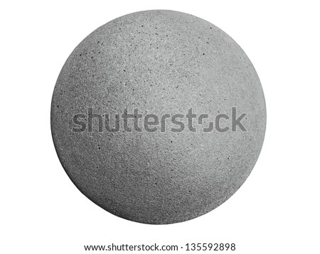 closeup of a concrete sphere isolated on white with clipping path - stock photo