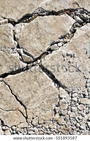 closeup of a  cracked cement texture for background