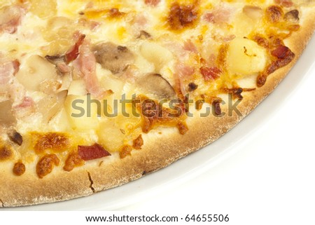 closeup of a delicious pizza on a white background