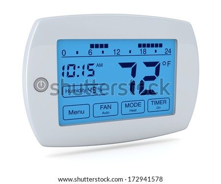 closeup of a digital, programmable thermostat (3d render) - stock photo