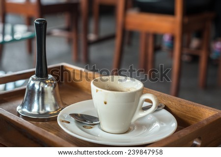 closeup of a empty cup of coffee at coffee shop - stock photo