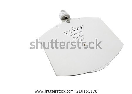 closeup of a eye chart isolated on a white board - stock photo