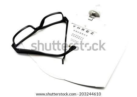 closeup of a eyeglasses and eye chart isolated on a white background - stock photo