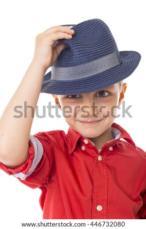 Closeup of a fashionable little boy over white background - stock photo