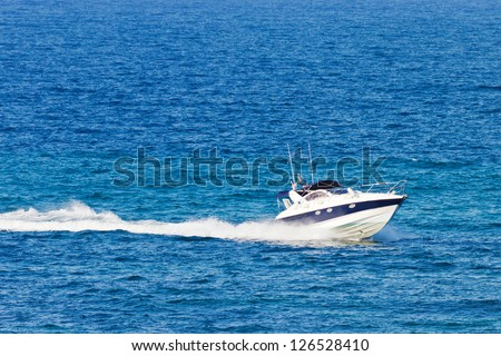Closeup of a fast boat on the sea
