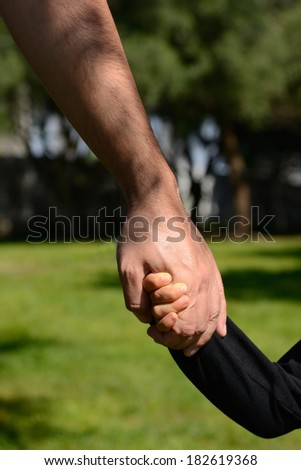 Closeup of a father and son holding hands in a park