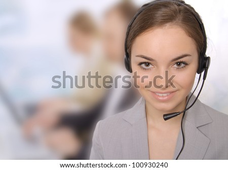 Closeup of a female customer service representative - stock photo