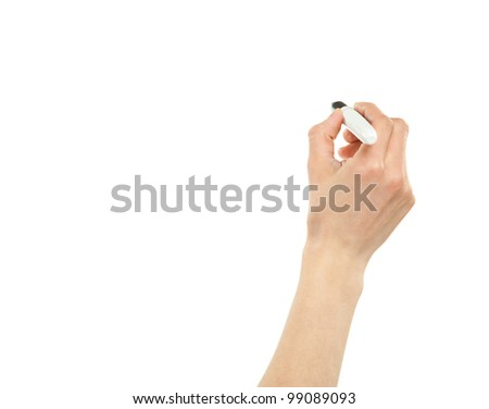 Closeup of a female hand writing with a marker isolated on white; copy space