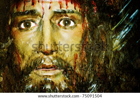 closeup of a figure of Jesus Christ - stock photo