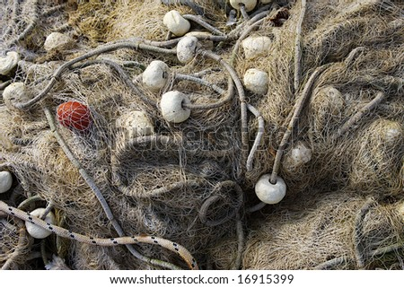 Closeup of a Fishing network - stock photo