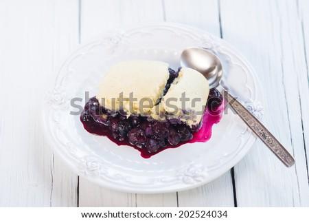 Closeup of a fresh blueberry cobbler. Organic natural food - stock photo