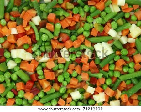 Closeup of a frozen mixed vegetables - stock photo