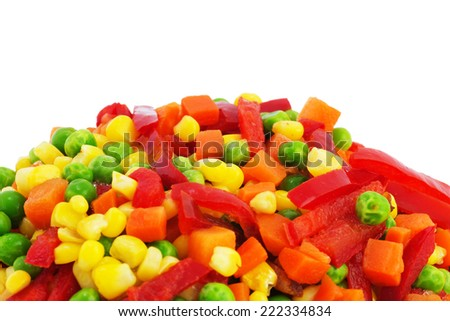 Closeup of a Frozen Mixed Vegetables. Food Background. - stock photo