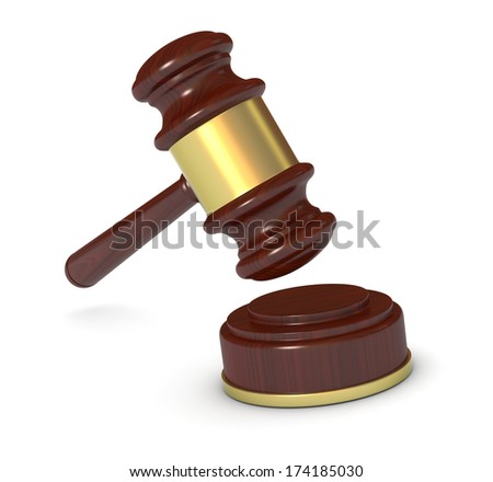 closeup of a gavel, concept of justice or auction (3d render) - stock photo