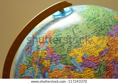 Closeup of a globe - stock photo