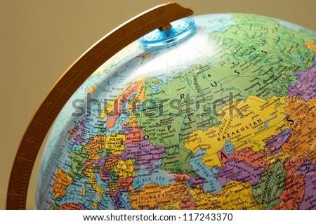 Closeup of a globe - stock photo