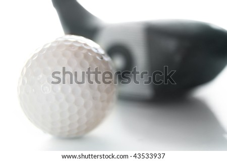 closeup of a golf ball and club