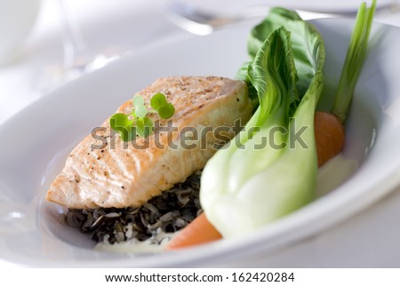 Closeup of a gourmet salmon dinner with wild rice, bok choy and carrot. - stock photo