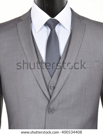 Closeup of a grey suit, vest and tie - stock photo