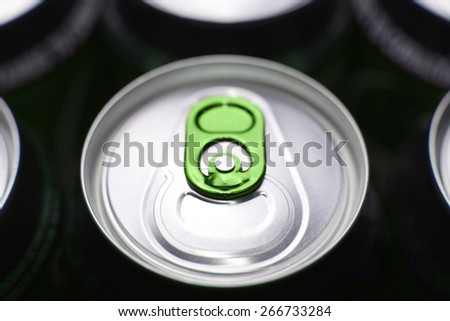 Closeup of a group of beer cans - stock photo