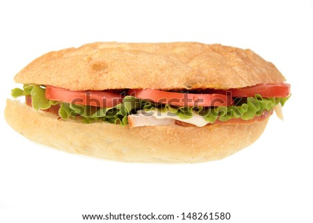 Closeup of a ham salad sandwich