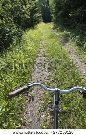 Closeup of a handlebar of a bicycle, Riding Mountain National Park, Manitoba, Canada