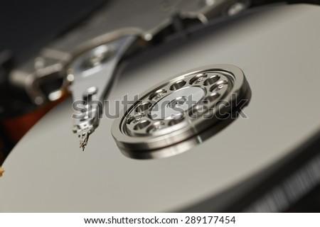 Closeup of a hard drive - stock photo