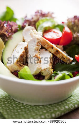 closeup of a healthy chicken salad with greens and pomme granate seeds and avocado - stock photo