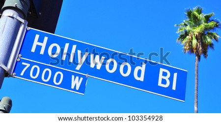 Closeup of a Hollywood Boulevard sign in Hollywood, United States - stock photo