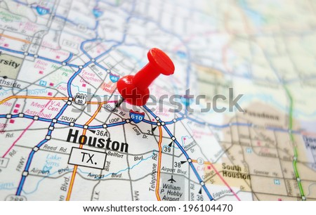 Closeup of a Houston, Texas map with red pin                                - stock photo