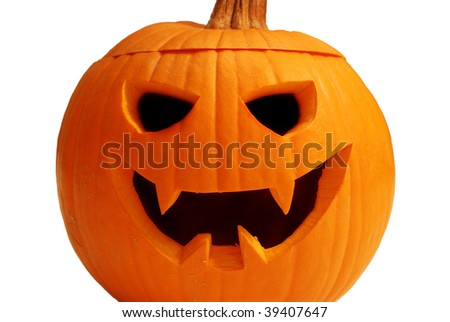Closeup of a Jack-o'-Lantern against a white background