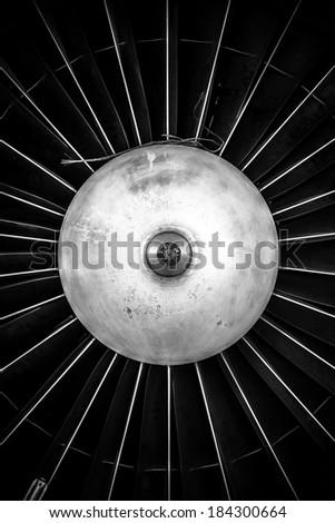 Closeup of a jet engine - stock photo