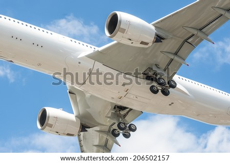 closeup of a large passenger aircraft undercarriage - no visible trademarks