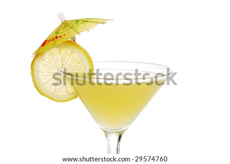 closeup of a lemon martini