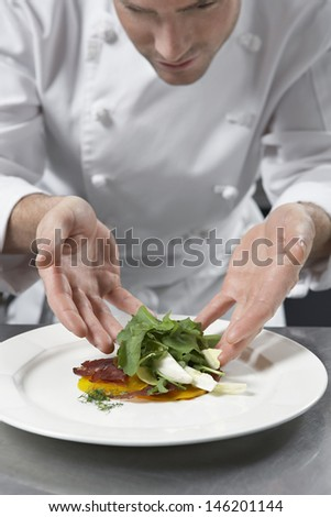 Closeup of a male chef preparing salad in kitchen