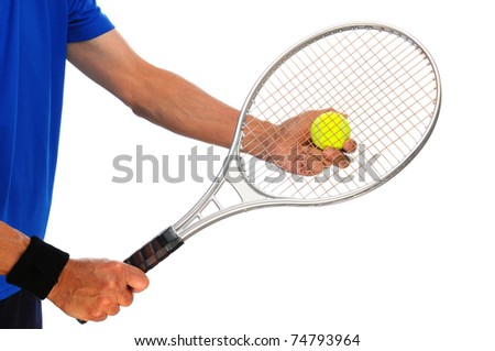 Closeup of a male tennis player holding a racket and tennis ball, ready to serve. Horizontal format isolated on white.