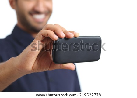 Closeup of a man hand watching video in a smart phone isolated on a white background - stock photo